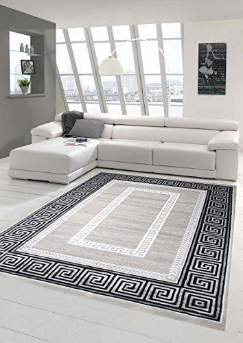 Designer Teppich Moderner Teppich Wohnzimmer Teppich mit Ornament Bordüre Grau Cream Schwarz Größe 80 x 300 cm