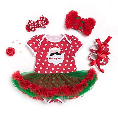 YOSEMITE Baby Mädchen Weihnachten Strampler Kleid Dancing Kleidung Set, Baumwolle, Santa Claus, (0-3M) UK