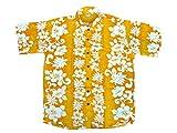 Hawaiihemd Hawai Freizeit Hemd Shirt Viskose gelb Blumenreihen weiß, Größe:3XL