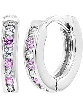 In Season Jewelry Baby Mädchen - Creolen Ohrringe Rhodiniert Rosa Klare Kristalle XS Winzig 7mm
