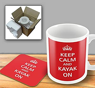 Keep Calm - And Kayak On - Mug and Coaster Set by The Victorian Printing Company
