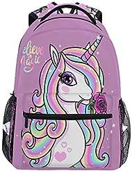 Mochila mágica de unicornio arcoíris, impermeable, para la escuela, para el gimnasio,