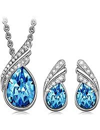 Kami Idea Venice Dream Set de joyería para Mujer con Cristales Swarovski Azul ,Viene con Caja de Regalo, sin níquel (Paquete de 2)