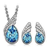 Kami Idea Set de joyería para Mujer Cristales Swarovski Collar Pendientes Azul joyería Regalos para cumpleaños Aniversario Boda Novia Esposa Madre Hija Damas niñas su