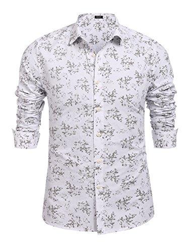 Burlady Hawaiihemd Herren Baumwolle Print Langarm T-Shirt Modisch Party Club Urlaub (Langarm-hawaii-shirt Weiße)