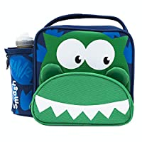 Smash Dino Lunch Bag and 350ml Bottle, Green/Navy, case