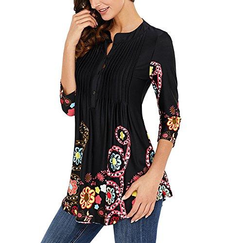 Miavogo Damen Lang Elegant T-Shirt Bluse Oberteile Tops mit Knopf Blumen Casual Freizeit Schwarz