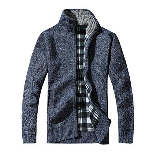 Jacke Xl Winter Tall (GreatestPAK Strickbaumwollmantel Mann Stand Reißverschluss-Stand-Warme Winter-Starke Jacke,Blau,L)