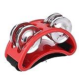 ammoon Percusión de Pie de la Pandereta Instrumento Musical 2 Juegos Metal Jingle Bell