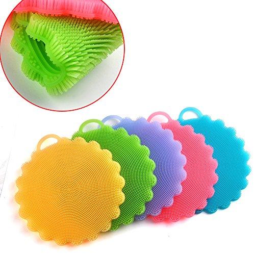 Waschen Scrubber Stoff Sie (Silikon Schwamm Scrubber,Vanyda Küche Bad Werkzeug Schale Waschen Haushalt Reinigung Putztücher Kit (*5))