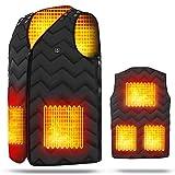 KKDD Elektro-Heizung Jacke Größe verstellbar, elektrische Beste USB Heizung batteriebetriebene DREI-Stufen-Temperatureinstellung Maßnahmen gegen kalte Heizung Kleidung Unisex schwarz