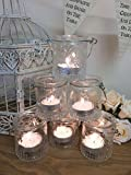 Set of 6 Vintage Glass Tea Light Holders Candle Votive Hanging Jars Wedding Decoration