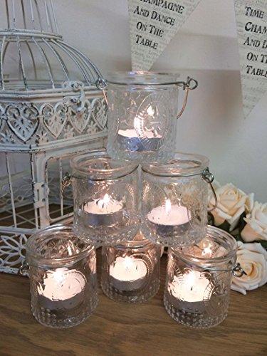 Lot de 6 Verre Vintage Détenteurs Tea Light Candle Votive Hanging Jars Décoration de mariage