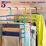 TONY STARK Closet Organizer Space Saving Plastic Multi-Functional Storage Wardrobe Clothes Organizer Hanger for Shirts, Pants, Skirts-32 L x 31 H x 5W cm (Multicolour, Set of 5)