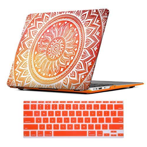 iCasso Schutzhülle für MacBook Pro 33 cm (13 Zoll), gummierte Hartschale, Kunststoff, für Apple Laptop/MacBook Pro mit CD-ROM-Laufwerk Modell A1278 mit Tastaturschutz (Orange Medallion #2) -