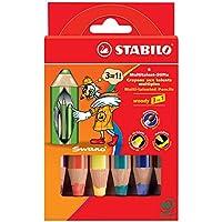 Crayon de coloriage - STABILO woody 3in1 - Étui carton de 6 crayons de couleur