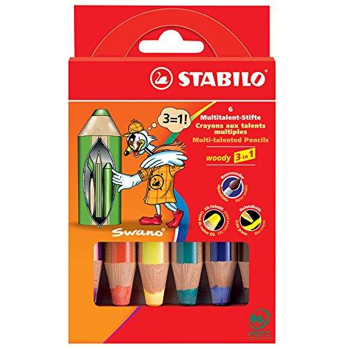 Preisvergleich Produktbild STABILO woody 3in 1Multitalent Super Jumbo Stifte Wallet von 6Farben sortiert