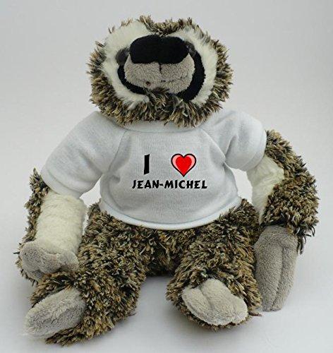 Peluche paresseux personnalisé avec un T-shirt J'aime Jean-Michel (Noms/Prénoms)