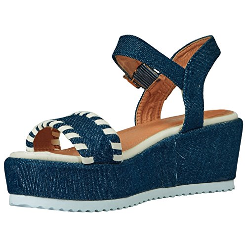 ByPublicDemand Olga Femme Talons Compensés sandales Bleu