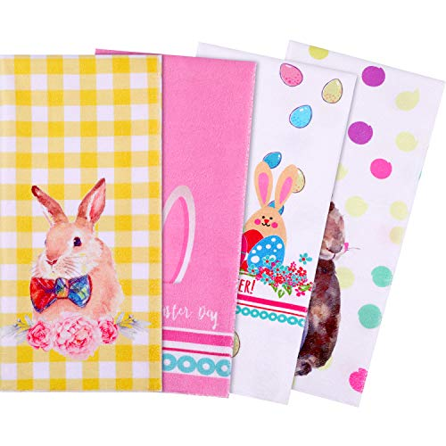 Yaomiao 4 Pieces Easter Dish Towel, Egg Bunny Dish Towels Kitchen Hand Towels for Home Kitchen Supplies, 28 x 20 Inches