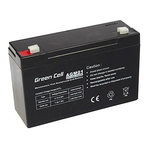 Green Cell® Batterie AGM (6V 12Ah VRLA Faston F1)