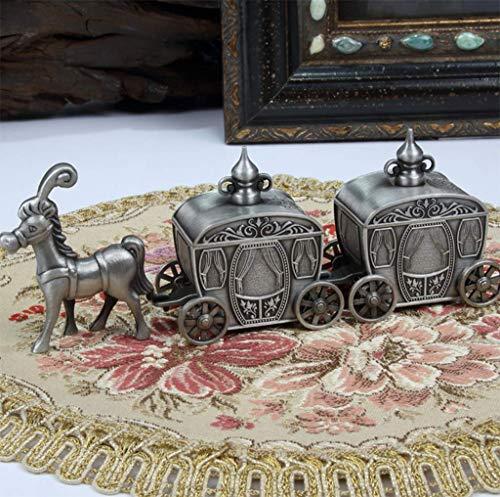 Metall Baby Tooth Box, Kinder Wagen Modellierung Milch Zähne/Nabelschnur / Lanugo Speicher Aufbewahrungsboxen Veranstalter Englisch Für Baby, 14,6 * 3,9 * 5,6 cm, Antikes Zinn