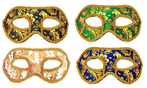 Fontee® 4 Stück Venezianische Maske,Halloween Karneval Party Maske, Maskerade Maske für Männer und Frauen, Schwarz, Blau, Weiß, Grün - Maskerade-masken Weiße Für Männer