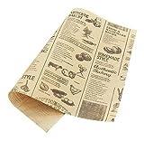 50 Blätter gelb Zeitung Muster Öl-Beweis Backen Kraftpapier Essen Platte Papier