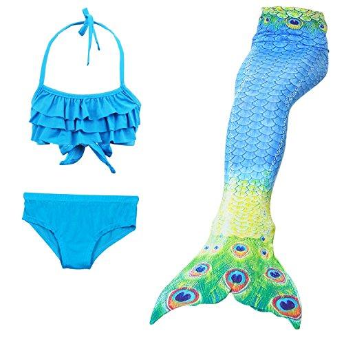 adeanzug Mädchen Schwimmen Mermaid Tail Kostüm Kleine Kinder Ariel Mermaid Cosplay Kinder Bademode Badeanzug, wjf46+jp39, 120 (Mädchen Ariel Kostüme)