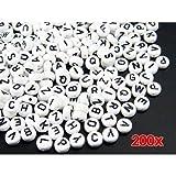 Wadoy 200X Buchstabe Perlen Kunststoffperlen Weiß Basteln Neu