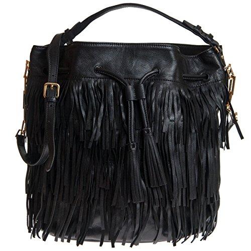 Abro Damen Bucket Bag Mit Fransen Schwarz
