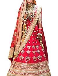 ShreeBalaji Enterprise Women's Silk Multicolor Lehenga Cholis (Nil-Ang009_MultiColour_Free Size)