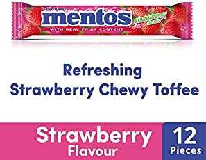 Mentos Chewy Dragee, Strawberry Flavour, Roll 31.2g (12 Pieces)