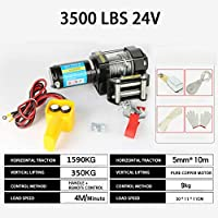 LeiQuanQuan 2020 12V / 24V 220V Torno eléctrico, elevación del pequeño hogar Remolque Emergencia al Aire Libre, Remolque 3000 LBS-4000 Lbs (Specification : 3500LBS24V)