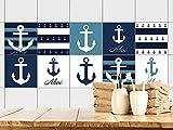 GRAZDesign 770393_15x15_FS20st Fliesenaufkleber Anker maritim | Fliesenbilder für Bad | Blau - Weiß - gestreift | Fliesen zum Aufkleben Bad | Selbstklebende Fliesen-Folie (15x15cm // Set 20 Stück)