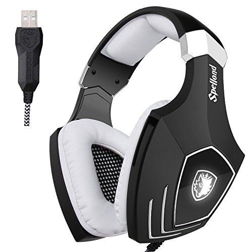 [2016 neu aktualisiert USB-Gaming-Headset] SADES A60 / OMG Computer über Ohr Stereo Gamming Kopfhörer mit Mikrofon Rauschen Isolating Volume Control LED-Licht für PC & MAC (schwarz + weiß) -