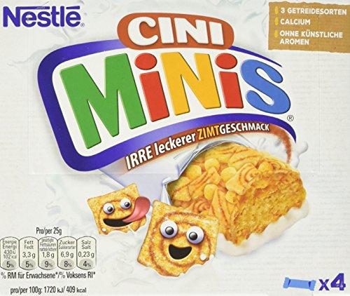 CINI MINIS Riegel, Cerealien mit Zimt-Geschmack, knuspriger Snack mit Vollkorn-Weizen & Calcium, für Kinder, 8er Pack (à 4 x 25 g)