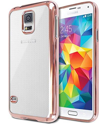 galaxy s5 mini gold FDTCYDS Galaxy S5 Hülle, Luxus Stilvoll Entwurf Electroplated Slim Fit Leichte Ultra dünnen metallischen Glanz TPU Abdeckung Hülle für Samsung Galaxy S5 - Rose Gold
