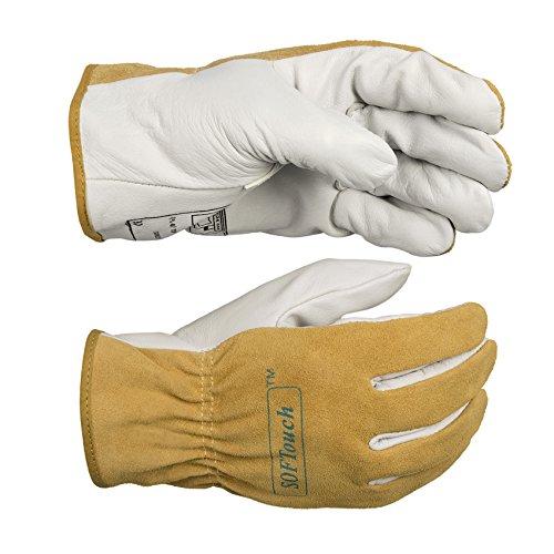 Split Rindleder Handschuhe (Weldas 10-2336Softouch® Treiber Modell Handschuhe mit extra Fingerspitze Empfindlichkeit)