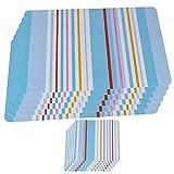 Platzsets Kunststoff Tischset Platzset Abwaschbar 6er Set + 6 Untersetzer Platzsets Blau Weiß Streifen