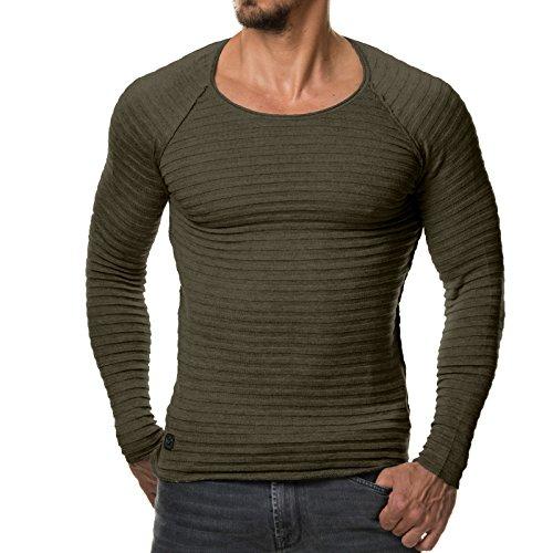 EightyFive Herren Pullover Feinstrick Streifen Weiß Grau Schwarz EF1699, Größe:M, Farbe:Khaki (Streifen-baumwoll-pullover Grüne)