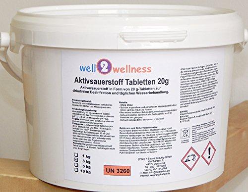well2wellness Aktivsauerstoff Tabletten 20g/Sauerstofftabs/O²-Tabs 20g chlorfrei - 3,0 kg