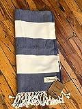 Bersuse 100% Cotone - Asciugamano Turco Cayman - Certificato Oeko-Tex - Peshtemal Fouta per Bagno e Spiaggia - Pestemal dai Colori Ricchi con Strisce - 95X175 cm, Blu Scuro/Bianco