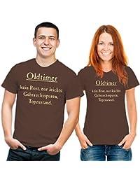 T-Shirt Oldtimer Funshirt braun beige