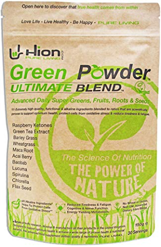 Hion Green Powder - ULTIMATE BLEND - ZERO BULKING AGENTS or fillers such as Maltodextrin or other useless ingredients! | The ORIGINAL industry-leading Vegan, alkaline & gluten-free Supergreens powder with proven REAL results!