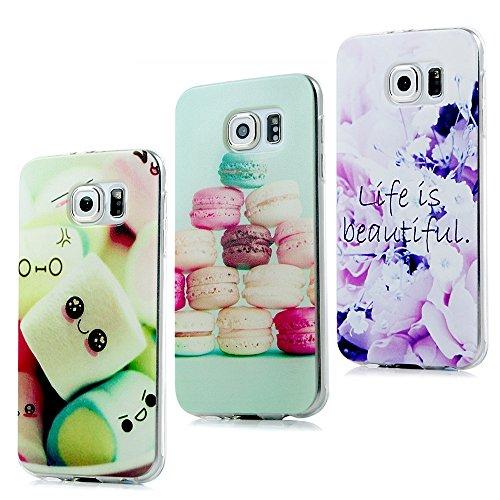 Preisvergleich Produktbild ZSTVIVA 3 in 1 Zubehör Set Schutzhüllen Samsung Galaxy S6 Hülle TPU Case Schutzhülle Silikon Crystal Case Durchsichtig Cover Schale Handy Tasche Skin(Macaron + schöne Blumen + Marshmallows)