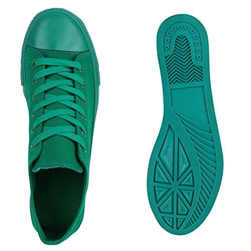 Sportliche Damen Basic Sneakers Low Canvas Schuhe Schnürer Grün