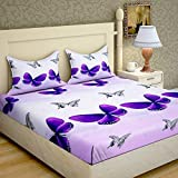 RS Home Furnishing 160 TC Glace Cotton Double Bedsheet With 2 Pillow Covers - Floral, Multi Color