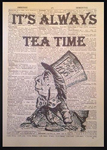 Parksmoonprints Kunstdruck, Wörterbuchseite mit Motiv Alice im Wunderland, Zitat des Verrückten Hutmachers, Vintage-Design (Hatter Mad Ware)