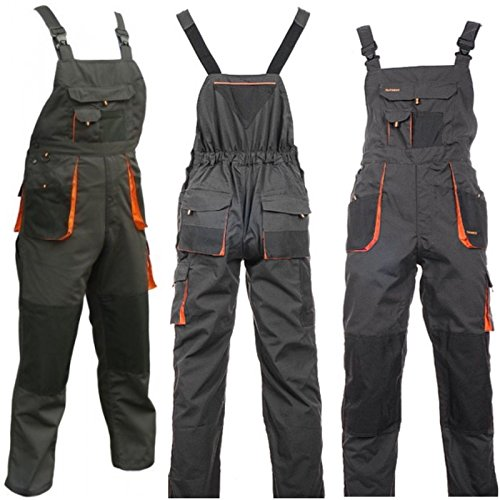 Bib and Brace Overalls Mens Work Trousers Knee Pad Dungarees Multi Pocket Clasic and Knee pads (56 (38-40 INCH) with Knee Pads)